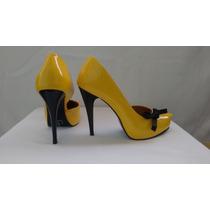 Sapato Amarelo Envernizado Meia Pata Com Laço Feminino