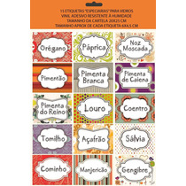 Cartela Com 15 Etiquetas Temperos - Decoração Cozinha