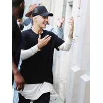 Boné Justin Bieber Trucker Tela Preto Liso Nada Wear
