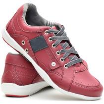 Sapatênis Sapato Tenis Casual Masculino Vermelho Sintetico
