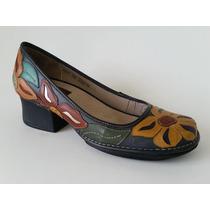 Sapato Ah281 Em Couro Marinho Florido