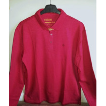 Camisa Polo Fórum Manga Longa Masculina Vermelha Tm G