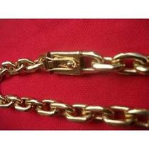 Corrente Cadeado Banhada Ouro - Fecho Gaveta - Elos Soldados