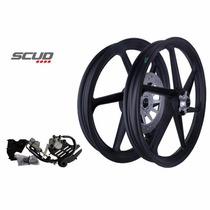 Rodas Sport Scud 6p Cg Titan 150 Esd + Freio Disc Tras - Par