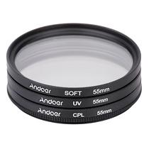 Filtros 55 Mm Kit (uv+cpl+soft) Canon Nikon Pronta Entrega
