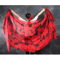 Veu De Seda Masclado Vermelho Com Preto,dança Do Ventre