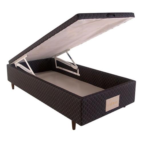 Base Box Solteiro Com Baú Herval Idea Preto 35 X 88 X 188cm