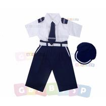 Conjunto Marinheiro Calça + Camisa Curta + Chapéu + Cinto