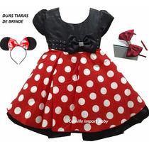 Vestido Infantil Festa Minnie Vermelho Luxo E Tiara Brinde