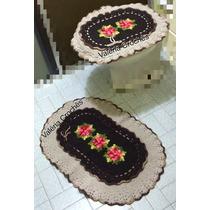 Jogo De Banheiro 02 Peças Tampa Vaso-tapete Da Pia Em Crochê