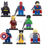 Kit Com 8 Vingadores Lego / Batman / Super Man / Thor