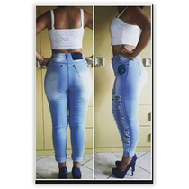 Calça Jeans Feminina Moda Destroyed Rasgada