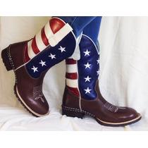 Bota Texana Eua Country Star Boy Couro Legitimo