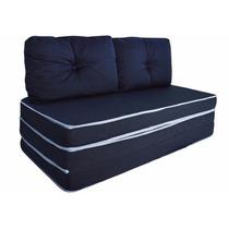 Puff Ou Sofá Ou Colchão - 3 X 1 Com Travesseiro | Casal