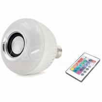 Lâmpada Led Rgb C/ Bluetooth Caixa De Som E Controle Remoto