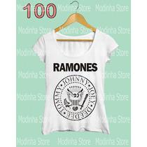 Blusa Tshirt Feminina Estampa Ramones Banda Rock Moda 2016