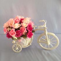Arranjo Bicicleta Aramada Lindo Cesto Flores Decoração !!