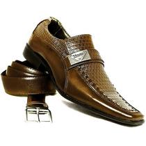 Sapato Social Masculino Em Couro Kit Exclusivo