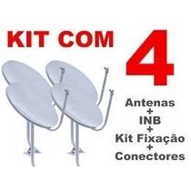 Kit 4 Antenas Banda Ku 60 Cm Completas + Cabos +lnbs Simples