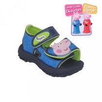 Sandália Infantil Peppa E George Velcro Com Brinde Dedoches