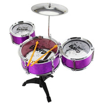 Mini Bateria Musical Infantil Jazz Drum - Rosa