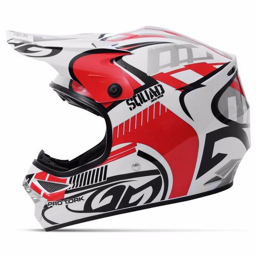 Capacete Motocross Squad + Óculos Proteção Trilha Vermelho