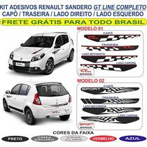 Kit Adesivo Gt Line Sandero Lateral Capo Traseira Renault