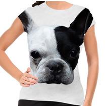 Camiseta Cachorro Bulldog Francês Branco E Preto Baby Look