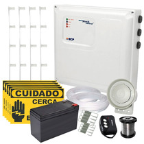 Kit Cerca Elétrica Com Alarme 30 Mts + Bateria E Brinde Ecp