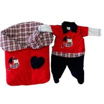 Saída De Maternidade Pequeno Marinheiro Plush Vermelho 4 Peç