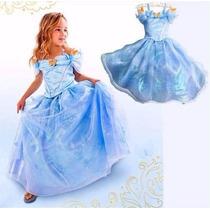 Vestido Fantasia Nova Cinderela Infantil Pronta Entrega