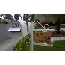 Caixa De Correios Americana+pedestal+placa Gravada Madeira