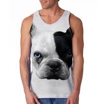 Camiseta Cachorro Bulldog Francês Branco E Preto Olhos Azui