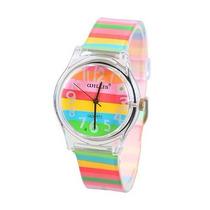 Relógio De Pulso Feminino Pulseira Colorida À Prova D
