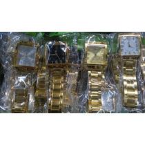 Kit 10 Relógio Feminino Quadrado Dourado/prata Em Atacado