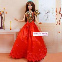 Vestido De Luxo Para Boneca Barbie + Par De Sapatinhos !