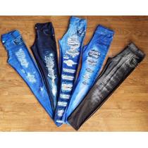 Calça Legging Imita Jeans Fitness Suplex Estampado Oncinha