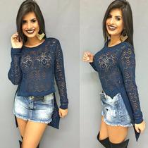 Blusa De Tricot Tricô Costas Comprida Em Malha Frete Grátis