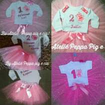 Peppa Bailarina Fada Roupa Personalizada Com Nome