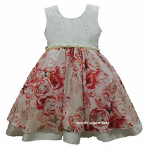 Vestido Infantil Festa Floral Barbie 4 Ao 12 Anos Com Tiara