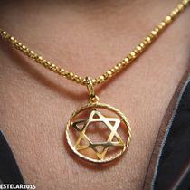 Estrela Davi Salomão Hexagrama Folheado Ouro 18k Pingente
