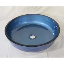 Cuba De Vidro Azul Para Banheiro - Redonda Achatada - 41cm