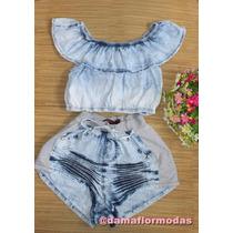 Conjunto Ciganinha Jeans Feminino Adulto Short Jeans
