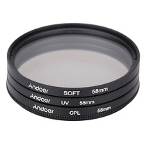 Filtro 58 Mm Kit (uv+cpl+soft) Canon Nikon Pronta Entrega