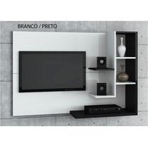 Painel Para Tv Acapulco Com 136 Cm Branco Preto Simbal Salas