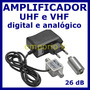 Mini Booster Uhf E Vhf 26db Digital Analogico Ideal Para Hd