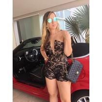 Macacao Macaquinho Nude #m1 Renda Preta Forro Cor De Pele