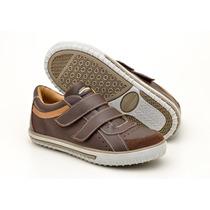Sapatenis Infantil Em Couro Com Velcro Sapatoterapia :