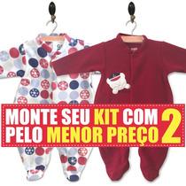 Kit 2 Macacão Inverno Soft Para Bebê Rn, P, M, G E Gg