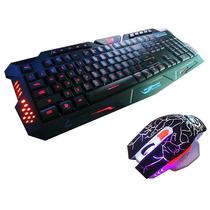 Kit Gamer Jogo Macro Teclado Iluminado +mouse Neon 3200dpi